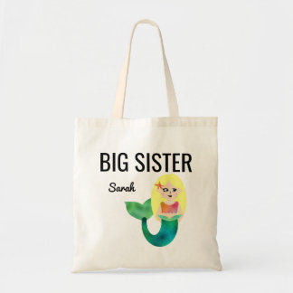 Big Sister Faux Foil Blonde Mermaid Girls Kids Tote Bag