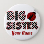 Big Sister Ladybug Red Personalised Button