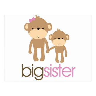Big Sister Monkey Pregnancy Announcement T-shirt Postcard