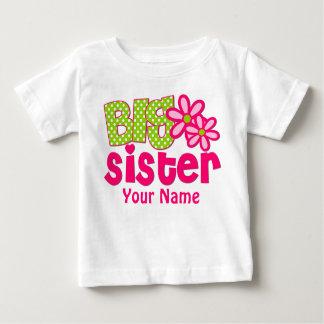 Big Sister Pink Green Personalised T Shirt