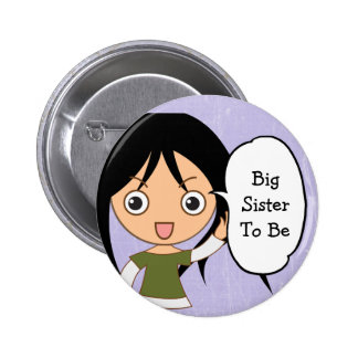 """Big Sister to be"" Purple Baby Shower Button"