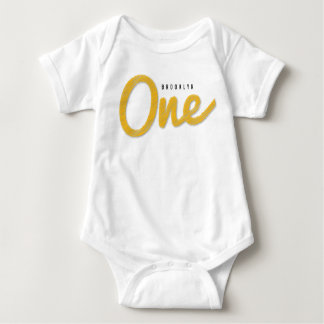 Big Sketch One Yellow Baby First Birthday Party Tee Shirts