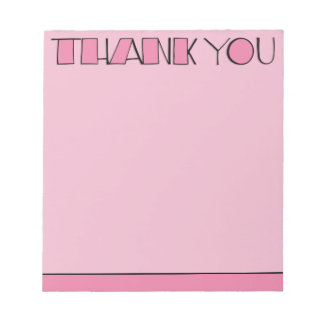 Big Thank You pink Notepad