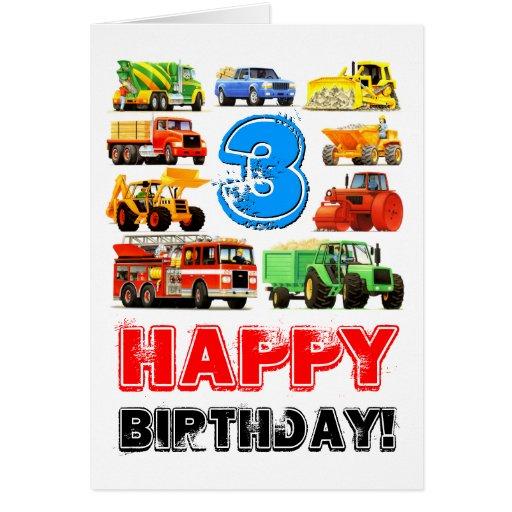 Big Trucks 3rd Birthday Cards
