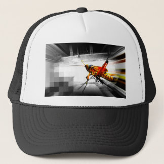 big yellow grasshopper abstract photo edit trucker hat