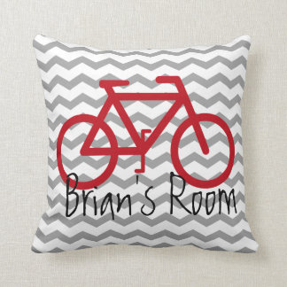 Bike Theme Pillow on Chevron | Red and Gray