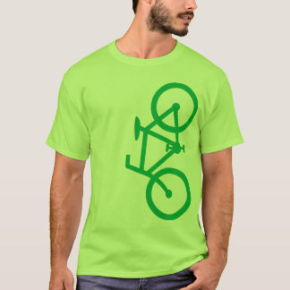 Bike, Vertical Silhouette, Green Design T-Shirt