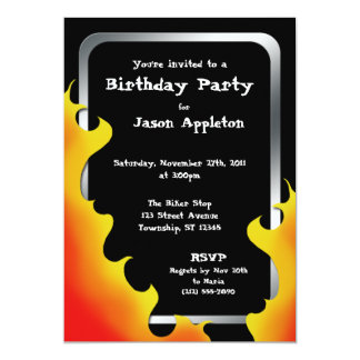 Biker Flames Silver Frame Birthday Invitations