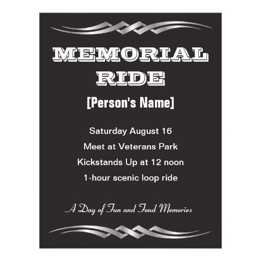 Biker Memorial Ride invitation flyer