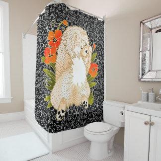 BINDI MINGSIE cream chow shower curtain