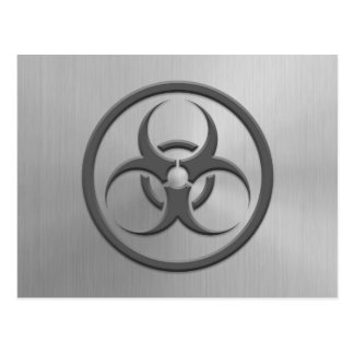 Bio Hazard Circle with Stainless Steel Effect Postcard