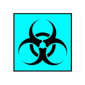 Bio Hazard or Biohazard Sign Symbol Warning Blue Postcard