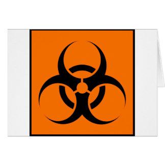 Bio Hazard or Biohazard Sign Symbol Warning Orange Greeting Card