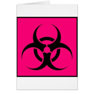 Bio Hazard or Biohazard Sign Symbol Warning Pink Greeting Card