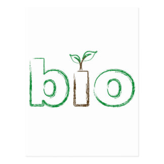 Bio text with a baby seedling and sketch effect postcard