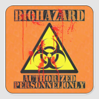 Biohazard authorized personnel only square sticker