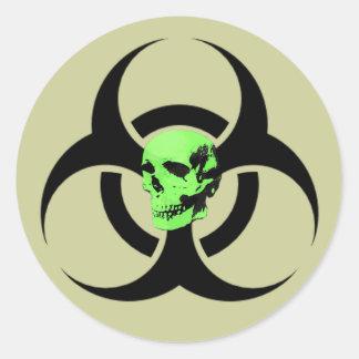 Biohazard Green Glowing Skull Warning Sticker