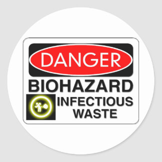 Biohazard Infectious Waste Classic Round Sticker