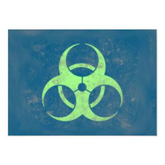 Biohazard Lime Green Blue Background 13 Cm X 18 Cm Invitation Card