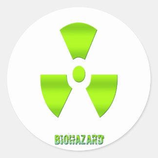 Biohazard Symbol With Word Classic Round Sticker