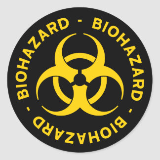 Biohazard Warning Classic Round Sticker