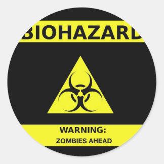 Biohazard zombie classic round sticker