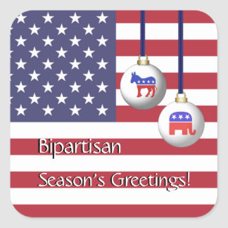 Bipartisan Election Holiday Season's Greetings Square Sticker