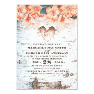 Birch Bark Carved Heart Rustic Country Wedding 13 Cm X 18 Cm Invitation Card