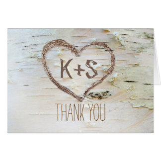 birch bark carved heart wedding thank you note card