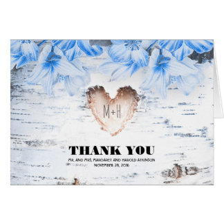 Birch Bark Heart Rustic Country Wedding Thank You Note Card