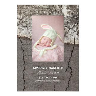 Birch Bark Rustic Wood Newborn Baby Photo Birth Card