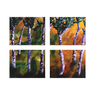 Birch Forest Panels Canvas Gallery Wrapped Canvas