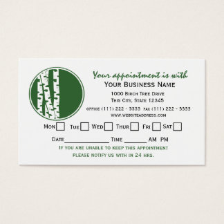 Birch Tree Appointment Card