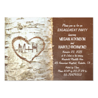 Birch tree bark heart rustic engagement party card