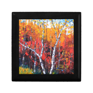 Birch Tree Fall Colorful Palette Knife Painting Gift Box