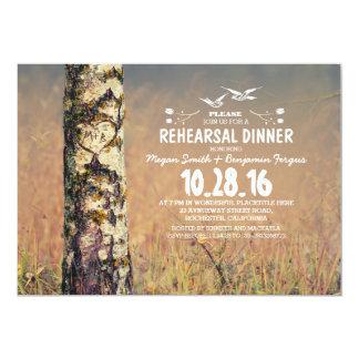 Birch tree & love heart rustic rehearsal dinner card