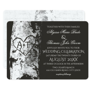 Birch Tree Wedding with Carved Heart Inititials 13 Cm X 18 Cm Invitation Card