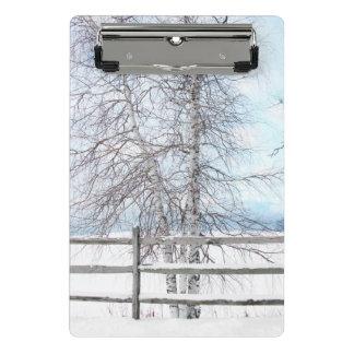 Birch Tree Winter Scene Mini Clipboard
