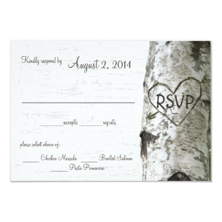 Birch Tree with Carved Heart RSVP 9 Cm X 13 Cm Invitation Card