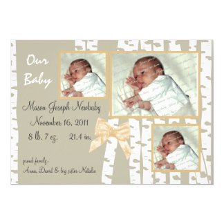 Birch Trees and Bows Baby Card