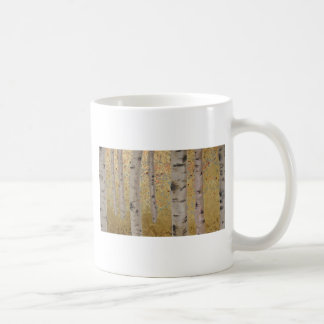 Birch Trees and Gold Leaf Original Artwork Coffee Mug