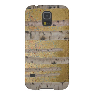 Birch Trees and Gold Leaf Original Artwork Galaxy S5 Covers