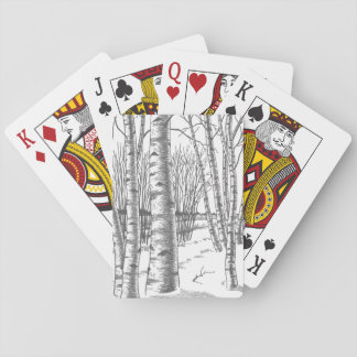 Birch Trees In Winter Christmas Xmas Playing Cards