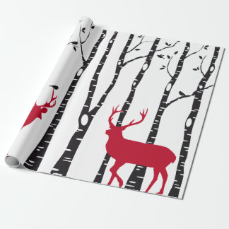 Birch trees with red Christmas deer and birds Wrapping Paper