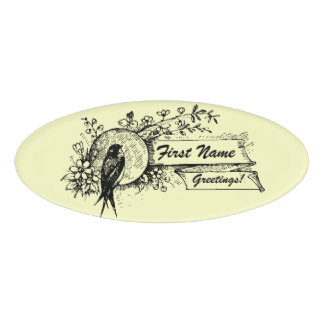 Bird and Delicate Floral Design with Text Ribbons