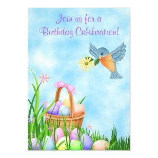 Bird and Easter Basket Birthday Invitation ~ Girls