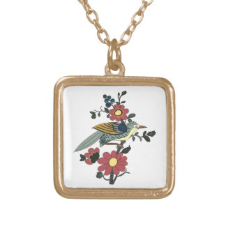Bird and Flower Gold Plated Necklace