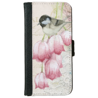Bird and Flowers with Handwriting Shabby Vintage iPhone 6 Wallet Case