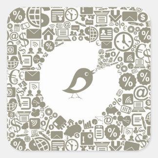 Bird business square sticker