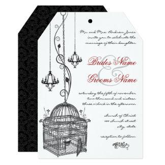 Bird Cage Chandilier Red Accents Wedding Invite